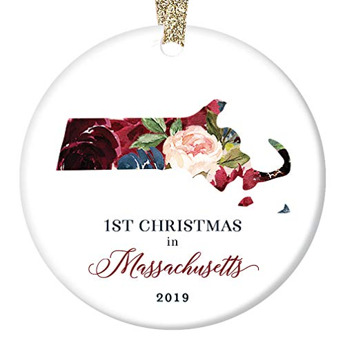 - 2019 Christmas Tree Ornament First 1st Holiday Living in MASSACHUSETTS Ceramic Collectible Keepsake for Relatives Friends Coworker Beautiful Floral 3