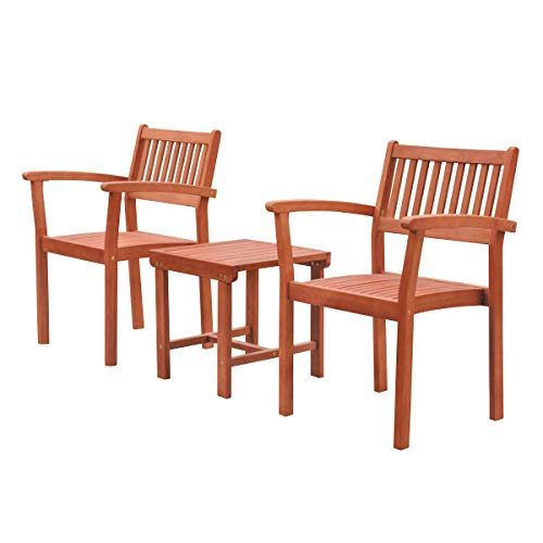 - Malibu V1802SET5 Outdoor Patio 3-Piece Wood Dining Set with Stacking Chair, Natural