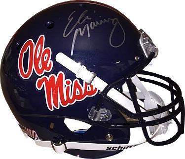 - Eli Manning signed Ole Miss Rebels Dark Blue Full Size Replica Schutt Helmet (silver signature)- Hologram - Steiner Sports Certified