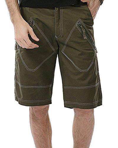 JoJoJoy Men's Casual Loose Fit Washed Cargo Shorts Zipper Multi-Pockets Outdoor Wear Green Size - Carpenter Shorts Boys