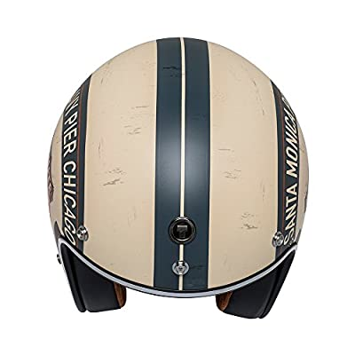 TORC unisex-adult open-face style T50 Route 66 3/4 Helmet Graphic (Flat White PCH, Medium): Automotive