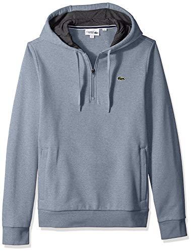 Lacoste Men's Sport Long Sleeve Half Zip Fleece Hoodie, Light Indigo Blue/Pitch, ()