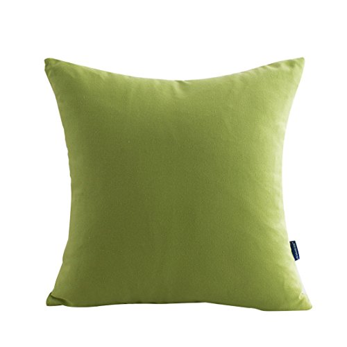 (JES&MEDIS Cotton Canvas Solid Pillow Cover Candy Color Pillow Case 18 x 18 Inch,Green)