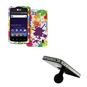 EMPIRE LG Optimus M+ MS695 Design Case Cover (White Paint Splatter) + Silicone Suction Cup Stand [EMPIRE Packaging]