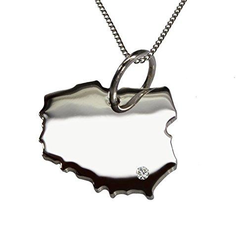 Endroit Exclusif Pologne Carte Pendentif avec brillant à votre Désir (Position au choix.)-avec Chaîne-en argent sterling 925, artisanat Allemande-Argent 925de bijoux