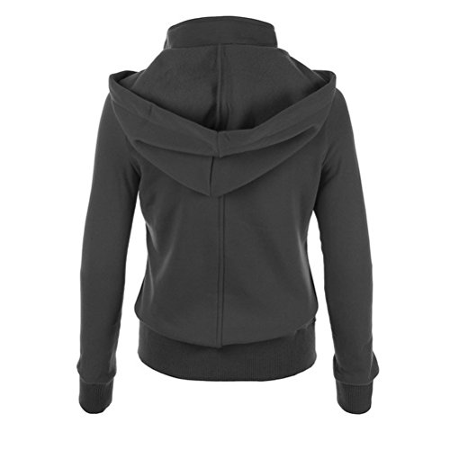 Zhhlinyuan Mujeres Ladies Winter Casual Stand Up Collar Hooded Sweatshirt Warm Outerwear Sweater Dark Blue