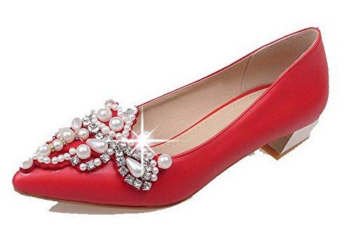 AgooLar Damen Spitz Weiches Material Ziehen auf Spitz Damen Zehe Niedriger Absatz Rein Pumps Schuhe Rot e2d99a