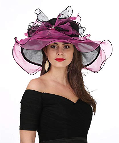 Lucky Leaf Women Kentucky Derby Church Cap Wide Brim Summer Sun Hat for Party Wedding (Bowknot-Black/Rose Red)