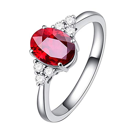 Nmch Women Natural Pigeon Blood Ruby Diamond Rings Blue Green Gem Finger Rings Simple Jewelry(Red,6)