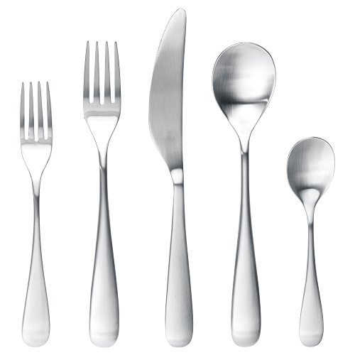 IKEA BEHAGFULL Best Stainless Steel Flatware Tableware Set - 20 Piece Place Setting Silverware - Includes Fork Knife Spoon Teaspoon Dessert | Salad Fork - Includes 100% Cotton Napkins - Service for 4