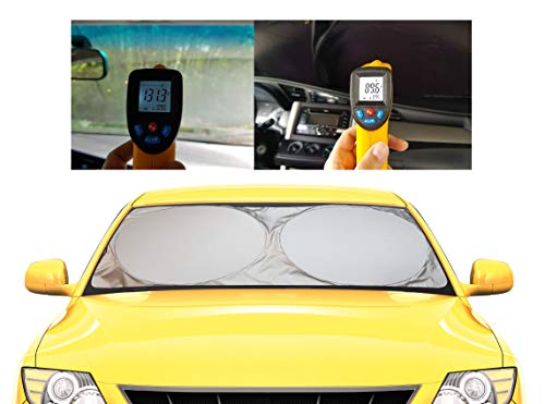Windshield Sun Shade - 210T Fabric in The Market for Maximum UV and Sun Protection -Foldable Sunshade for car Windshield Will Keep Your car Cooler- Windshield Sunshade (Large) (Best Sunshade For Car Windshield)