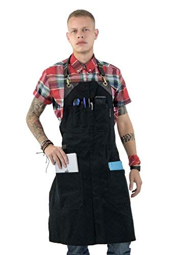 Detachable Split Ring - Under NY Sky No-Tie Black Apron with Full Grain Leather Straps - Durable Twill, Split-Leg, Adjustable for Men and Women - Pro Chef, Pastry, Tattoo Artist, Barista, Bartender, Stylist, Server Aprons