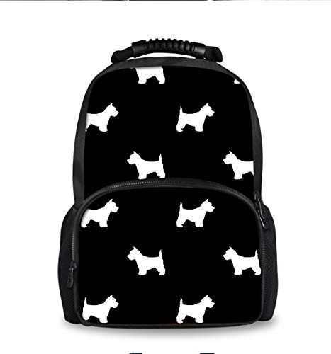 School Backpack Kids Bag Travel Back to School Men Women Unisex Lightweight Basic Simple Comfortable Fashion Bag (Terrier Dog Silhouette Black)