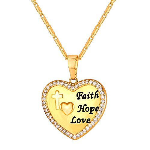 """Heart Necklace with Cubic Zircon Stones 22"""" Chain Gold Plated Faith Hope Love Pendant"""
