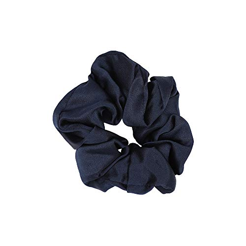 Mommesilk Mulberry Silk Hair Scrunchies Ponytail Holder Elastic Bobbles Hair Ties Band for Women Hair Care 100 Silk Navy Blue