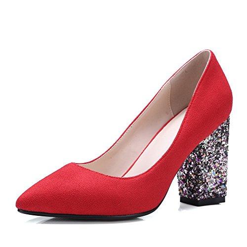 AllhqFashion Damen Rein Mattglasbirne Hoher Absatz Ziehen auf Spitz Zehe Pumps Schuhe Rot