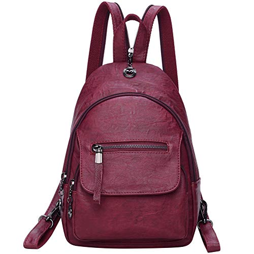 Small Leather Convertible Backpack Sling Purse Shoulder Bag for Women (Red Wine)