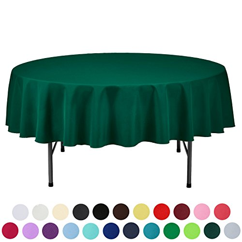 VEEYOO 70 Inch Round Solid Polyester Tablecloth For Wedding Restaurant  Party, Hunter Green
