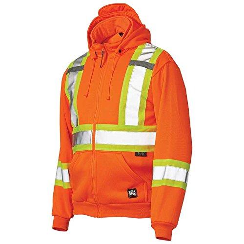 Work King Men's Hi-Vis Zip Fleece Hoody, Safety Orange, Medium - Fleece Hooded Ansi Jacket