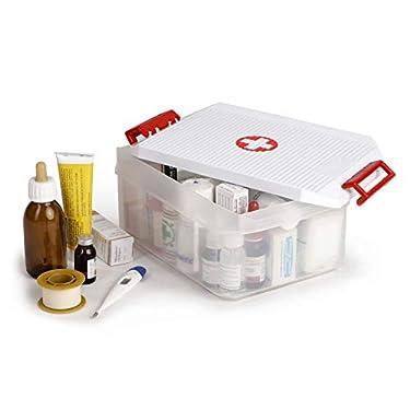 Tatay-Caja-Botiquin-Multiusos-con-Tapa-45-L-de-Capacidad-Con-Asas-de-Polipropileno-Libre-de-BPA-Blanco-Cruz-Roja-Medidas-12-x-30-x-19-cm
