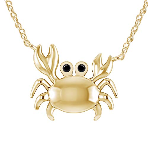 Pretty Jewels 0.04 Ct Black Real Diamond in 14K Yellow Gold Fn 925 Sterling Silver Sea Crab Pendant Necklace ()