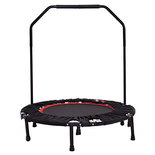 Giantex Mini Foldable Rebounder Trampoline With Hand Rail Bouncing Workout Exercise