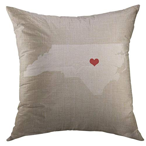 Mugod Decorative Throw Pillow Cover for Couch Sofa,Linen North Carolina New State 16 X Wedding Home Decor Pillow case 18x18 Inch
