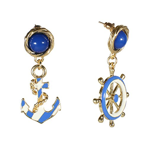 (Fashion Goldtone Anchor Helm Dangle Earrings Blue White Enamel Nautical Marine Maritime Stud Jewelry)