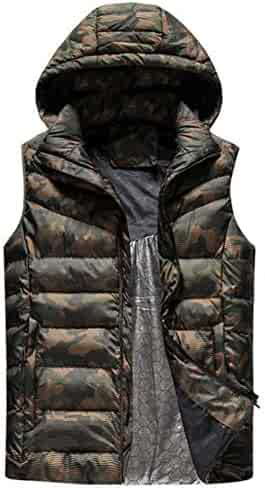 d4f203d52f4 DANLIA Packable Puffy Down Vest Jacket, Camo Camouflage Army Hooded Collar  Plus Size Vest Men