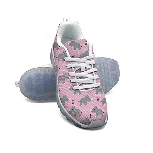Faaerd Cute Rhino Womens Mesh Traspirante Walking Sneakers Air Cushion Scarpe Sportive Traspiranti Scarpe Da Corsa Atletiche