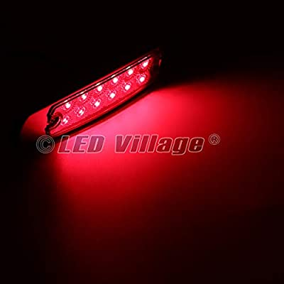 LedVillage [Pack of 10] 12V DC 6.4 Inch Clear Lens Red Side Marker Lights 12 LED Flush Mount Universal Trailer Truck Kenworth Peterbilt Freightliner Lorry Bumper Fender Tail Waterproof w/Chrome BB12: Automotive