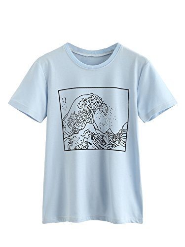 Romwe Women's Short Sleeve Top Casual Graphic Print Tee Shirt Blue L
