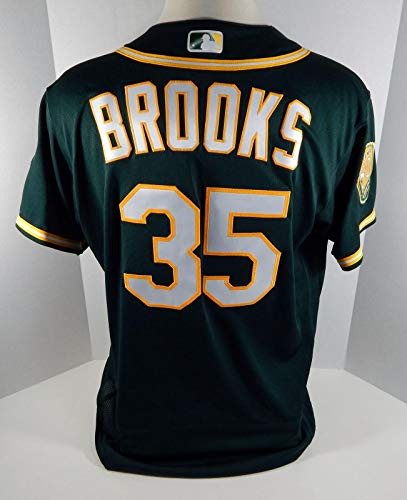 2018 Oakland Athletics A's Aaron Brooks #35 Game Issued Green Jersey 50th 0795 - Game Used MLB Jerseys