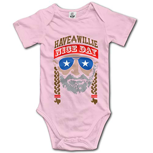 Arsmt Have A Willie Nice Day Infant Short-Sleeve Romper Bodysuit Unisex Baby Pink