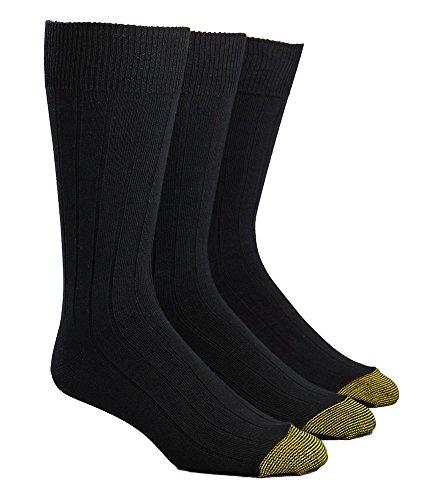 Gold Toe Men's Hampton Sock, 3 Pack, Black, 10-13 (Shoe Size 6-12.5)
