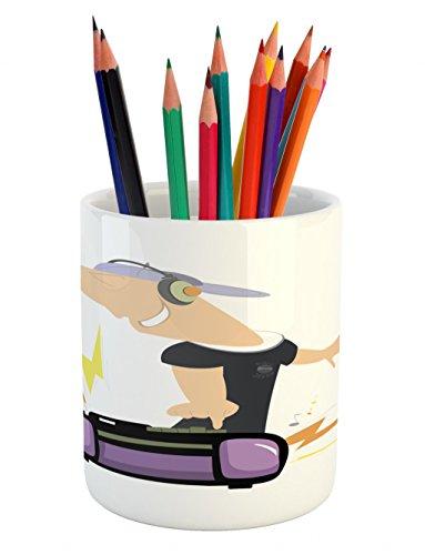 Cheap  Lunarable Rapper Pencil Pen Holder, Man with Headphones and a Tape Deck..