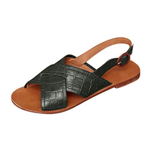 SUNyongsh Women's Sandals Cross Belt Buckle Sandals Fish Mouth High Heel Shoes Belt Buckle Ankle Strap Roman Sandals Green -