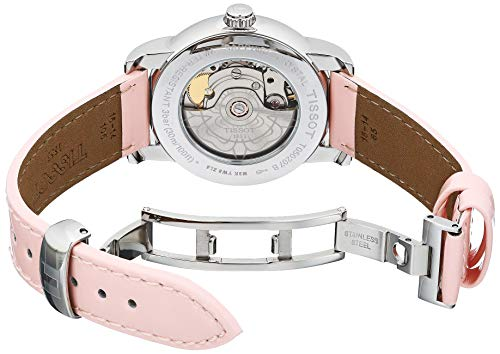 Tissot Women's Lady Heart Stainless Steel Swiss Automatic Leather Calfskin Strap, Pink Casual Watch (Model: T0502071611700)