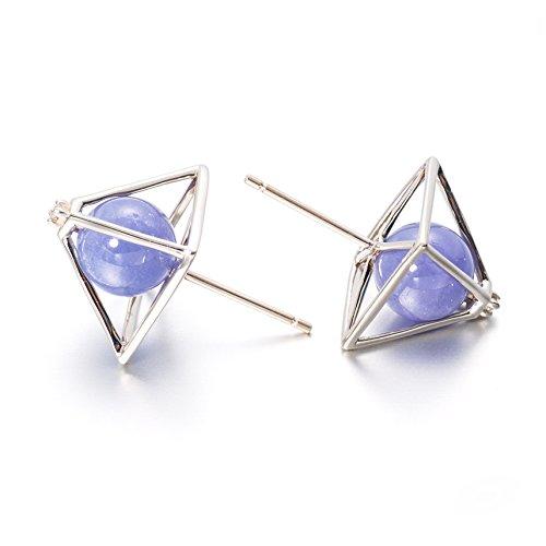 Pyramid Earrings Everyday jewelry in 14k white gold, Tanzanite & diamond - Triangle Earrings - Tanzanite earring, ear stud by Majade Jewelry Design