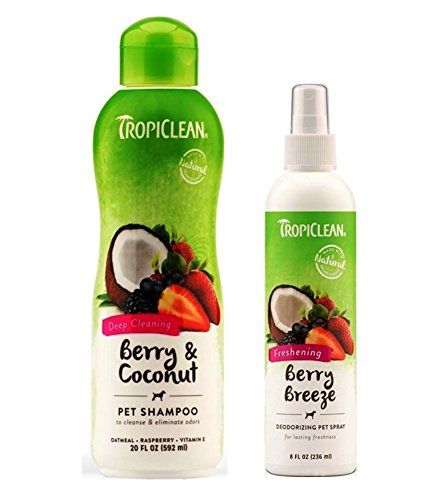 TropiClean Pet Grooming Bundle, 1 Each: Berry & Coconut Deep Cleaning Shampoo, and Freshening Berry Breeze Deoderizing Spray