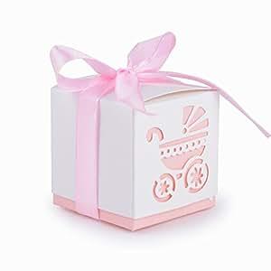 50Pcs Cajas de Bautizo Caramelo Cumpleaños Dulces Bombones Regalos Detalles para Invitados de Boda Fiesta Comunion o Bautizo Cumpleaños con Cintas (Rosa)