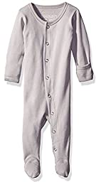 L\'ovedbaby Baby Organic Cotton Footed Sleeper, Light Gray, 0-3 Months