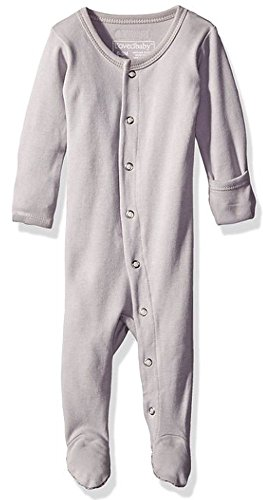 L'ovedbaby Baby Organic Cotton Footed Sleeper, Light Gray, 0-3 Months