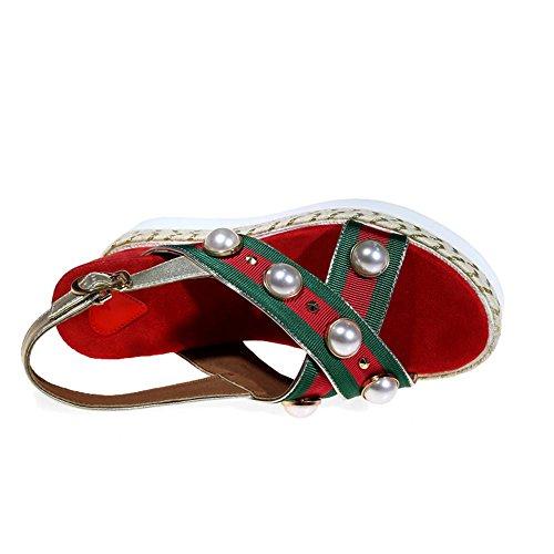 GJDE Tecnología Sandalias Pendiente Zapatillas de Verano Ddecoración del Remache de la Perla Red