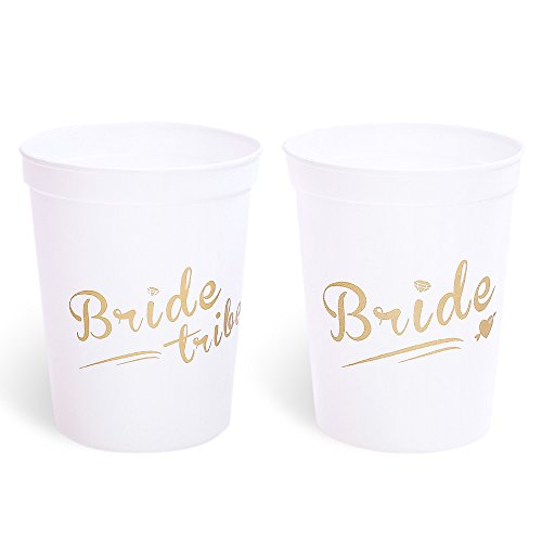 Bride & Bride Tribe Style Cups for Bachelorette Party, Bridal Shower & Hen Party - 12 Count White Cups with Gold Letters, 16 Oz by Yi PF G star