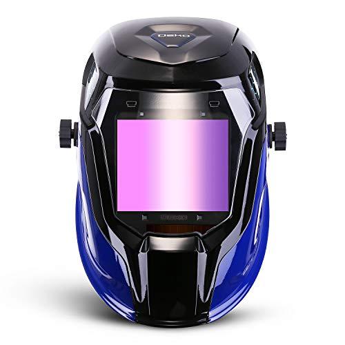 Durable Solar Powered Welding Helmet Auto Darkening Professional Hood with LED Digital Display Accurate Adjustable Shade Range 4/5-8/9-13 for Mig Tig Arc Weld Grinding Welder Mask by DEKOPRO (Image #1)