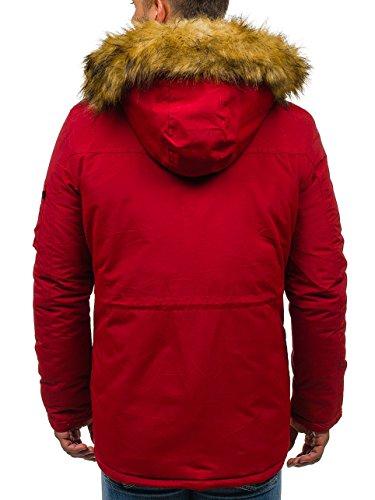 Uomo Giubbotto Con Street Parka Invernale Stile Tipo 4602 Rosso Allungata Da 4d4 Cappuccio Bolf – Rx5BnwaqWP