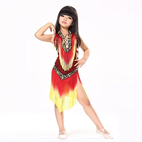 Salsa Costumes For Kids (Pilot-trade Kid's Leopard Latin Dance Samba Salsa Dresses Dance Costumes Red)