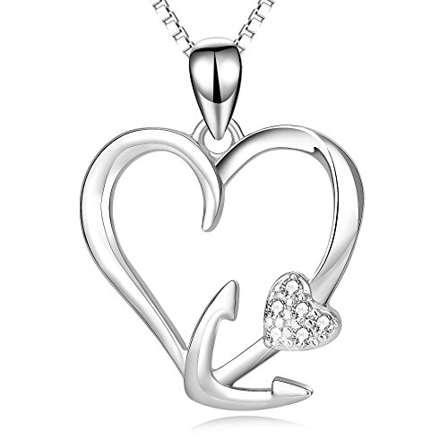 ver Eternal Love Heart Ship Anchor Pendant Necklace For Women Girls(Anchor necklace 1) (Heart Anchor)
