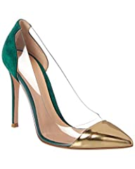 Please note: Size selections are European. For US conversions, please reference size chart.. Made in Italy. Color/material: green suede. Design details: PVC accent, patent cap-toe. Lightly padded leather insole. Smooth leather sole. 4in heel....